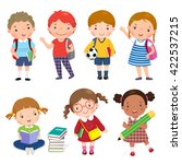 back to school. set of school... | Shutterstock .eps vector #422537215