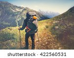 traveler man with backpack... | Shutterstock . vector #422560531