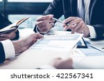 group of business people busy... | Shutterstock . vector #422567341