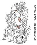 hand drawn koi fish tattoo | Shutterstock .eps vector #422570101