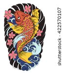 hand drawn koi fish tattoo... | Shutterstock .eps vector #422570107