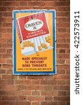 Small photo of SHEFFIELD PARK, UK - MARCH 19, 2016: Retro cigarette advert on wall of British Railways station