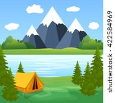 tent camping tourist forest... | Shutterstock .eps vector #422584969