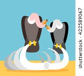 vultures on skeleton remains....   Shutterstock .eps vector #422589067