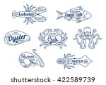 set of seafood thin line icons... | Shutterstock .eps vector #422589739