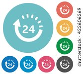 flat 24 hour delivery icon set...