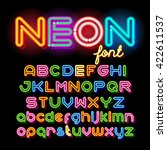 neon light alphabet vector font.... | Shutterstock .eps vector #422611537