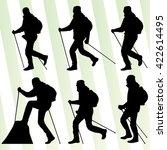 man hiker nordic walking with... | Shutterstock .eps vector #422614495