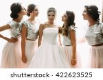 lovely bride and bridesmaids... | Shutterstock . vector #422623525