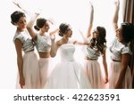 funny photo of the bride and...   Shutterstock . vector #422623591