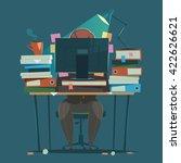 businessman works hard at an... | Shutterstock .eps vector #422626621