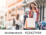 young woman at the street with... | Shutterstock . vector #422627434