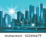 modern night city skyline at... | Shutterstock .eps vector #422646679