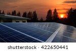 Solar Farm With Sunrise
