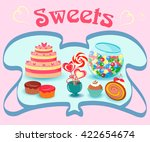 showcase sweets shop. cakes and ... | Shutterstock .eps vector #422654674