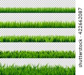 grass border big set  isolated... | Shutterstock .eps vector #422662087