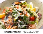 warm salad with sea food and... | Shutterstock . vector #422667049