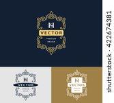 line graphics monogram. elegant ... | Shutterstock .eps vector #422674381