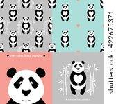 panda bear set. vector flat... | Shutterstock .eps vector #422675371