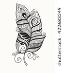 vector black and white doodle... | Shutterstock .eps vector #422683249