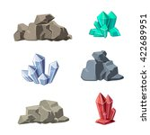 cartoon minerals and stones set ... | Shutterstock .eps vector #422689951