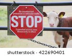 Small photo of A sign is posted in an attempt to keep germs and disease infecting farm animals/Bio Security or Biosecurity and Farm Animals/A sign is posted to keep germs and disease infecting farm animals.