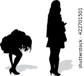 silhouettes of the girl who... | Shutterstock .eps vector #422701501