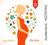 beautiful pregnant woman in... | Shutterstock .eps vector #422707441