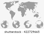 world  map with four globe... | Shutterstock .eps vector #422729665