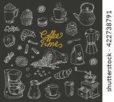 collection of coffee doodle... | Shutterstock .eps vector #422738791