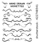 set of hand drawn vignettes in... | Shutterstock . vector #422748541