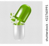 pill with leaf  isolated on... | Shutterstock .eps vector #422760991