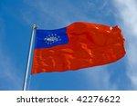 Burmese Flag On A Pole Against...