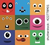 set of cartoon cute character... | Shutterstock .eps vector #422778901