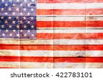 Worn American Flag On A Old...