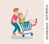 shopping cart with funny man... | Shutterstock .eps vector #422783911
