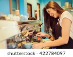 asian woman barista smiling and ... | Shutterstock . vector #422784097