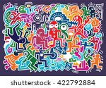 dancing party pattern with... | Shutterstock .eps vector #422792884