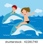 child rides dolphin | Shutterstock .eps vector #42281740