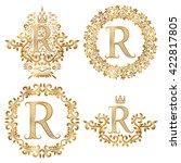 golden r letter vintage... | Shutterstock .eps vector #422817805