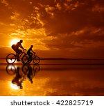 sporty couple friends on... | Shutterstock . vector #422825719
