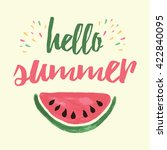 summer print with watermelon... | Shutterstock . vector #422840095