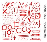 hand drawn sketch red marker ... | Shutterstock .eps vector #422840701