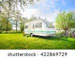 caravan trailer camping on a... | Shutterstock . vector #422869729