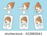 Cartoon Young Woman Smile Take...