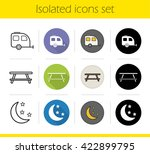 Camping Icons Set. Flat Design...