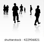people silhouette walking... | Shutterstock .eps vector #422906821