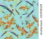 seamless pattern with feathers | Shutterstock . vector #422928139