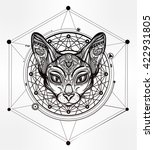 vintage ornate cat head with... | Shutterstock .eps vector #422931805