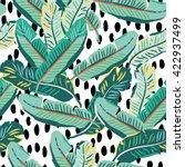banana palm leaves on the white ... | Shutterstock .eps vector #422937499